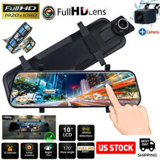 "10"" Touch Screen 1080P Car Video Dash Camera DVR Dual Lens FHD Rear View Mirror"