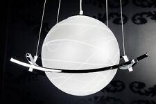 Hängelampe Hängeleuchte CURVE weiss Opalglas Kugelleuchte Retro Design NEU