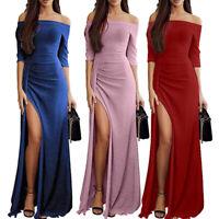 LD_ Sexy Women Off Shoulder Dress Evening Cocktail Wedding Banquet Party Ball