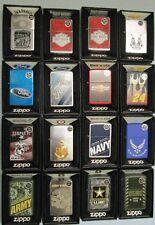 Lot of 16 Zippo Lighters unused NIB Military Jack Daniels Harley Chevy Ford