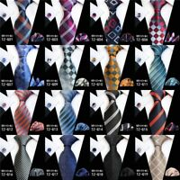 New Men's Silk Ties Stripe Checks JACQUARD WOVEN Neck tie Cufflinks Square Set