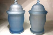 """2 Vintage 10"""" Covered Glass Baby Blue Satin Frosted Apothecary Ginger Jars Urns"""