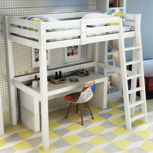 3ft Single Loft Bed High Sleeper Cabin Strong Wooden Frame Bunk Bed Kids Bedroom