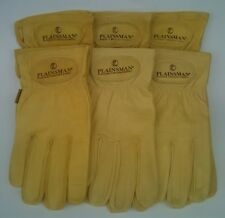 6 Pairs PLAINSMAN Goatskin Leather Wholesale Work Gloves EX. LARGE New Free Ship
