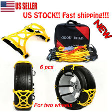 NEW! Car Snow Tire Chains Beef Tendon Wheel Antiskid Yellow Chain TPU - 6 Piece