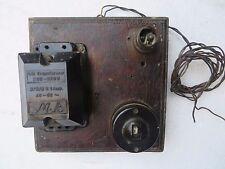 Vtg.Bakelite Bell Transformer Wood Board Switch Brass holder M K Brand Black