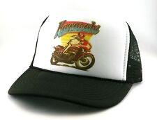 Vintage Kawasaki Trucker Hat mesh hat snap back hat black street bike 1980's NEW