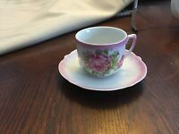Pretty Pink Rose Tea Cup And Saucer Made In Bavaria .
