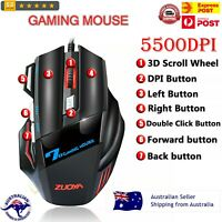 Wired Gaming Mouse 7 Keys 5500DPI LED Optical Silent/Sound Mouse For Pro Gamer