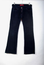 P483/49 FCUK Navy Blue Cotton Stretch Bootcut Leg Corduroy Jeans, UK 10 Tall
