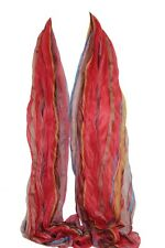 Coral Crinkle Scrunch Colourful Striped Lined Scarf Stole Shawl Sarong Hijab
