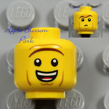 NEW Lego Police MALE MINIFIG HEAD - Unibrow President Business Man Boy Big Smile