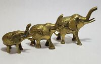 Vintage Brass Elephant Figurine Paperweight~ Lucky Trunk Up~ Family LOT of 3