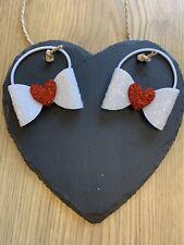 Girls/toddler Handmade White/red Heart Glitter Pigtail Bows Bobbles