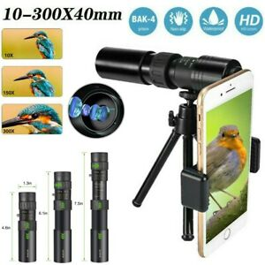 4K 10-300X40mm Super Telephoto Zoom Portable Monocular Telescope w/Tripod + Clip