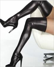 Plus Size Wet Look Thigh High Vinyl Stockings
