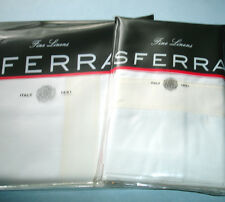 Sferra ORLO King Flat Sheet & Pillowcases White w/Ivory Band Italian Percale New