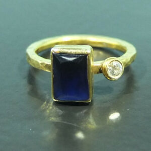 Handmade Hammered Sapphire And Topaz Ring Yellow Gold over 925K Sterling Silver
