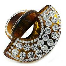 Burnt Orange Hair Claw Jaw Pin Butterfly Clip Clamp Clear Rhinestone Styling h40