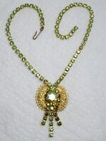 Vintage Pale Green Aurora Borealis Rhinestone Filigree Pendant Choker Necklace