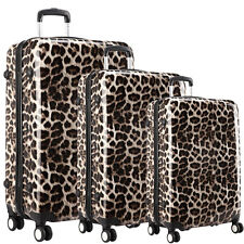Leopard Hard Shell 4 Wheel Spinner Suitcase Set Luggage Trolley Cabin Hand