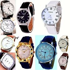 Women Men Med-Large 35-42mm Face Leather Analog Quartz Wristwatch wrist Watch