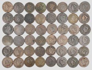 Large Dealer/Collector Lot 48 Large Copper Cents US 1797-1856