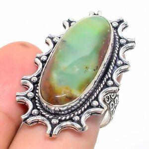 Chrysoprase Gemstone Handmade 925 Sterling Silver Jewelry Ring Size 8 e858