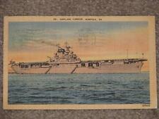 Airplane Carrier, Norfolk, VA.1949, used vintage card