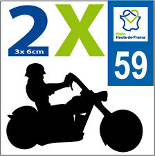 Nord HDF 2 stickers style immatriculation MOTO Département 59 HAUTS DE FRANCE