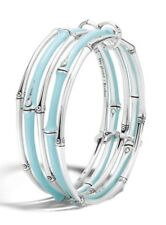 NWT-JOHN HARDY Bamboo 5-Row Linked Bangle Bracelet Turquoise Enamel - $1100.00