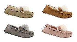 Women's Ella Paula Faux Sheepskin Look Fur Lined Memory Foam Moccasin Slippers