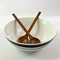 Kate Spade Lenox Concord Square Large Salad Bowl With Wood Servers