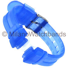 14mm Hadley-Roma Transparent Blue Rubber Baby-G Ladies Watch Band Long LS3132