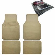 4pcs Full Carpet Floor Mats Universal Fit for Car SUV Beige w/ Dash Mat