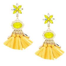 Handarbeit Lange Ohrringe Kristall Klar Lemon Perlen Ivory Weiß Rafia Gelb 8,5 L