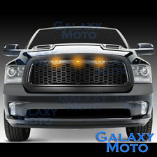 13-17 Dodge RAM Raptor Style Matte Black Replacement Mesh Grille+Shell+Amber LED