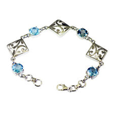 casually 925 Solid Sterling Silver exquisite Natural Blue Bracelet gift UK