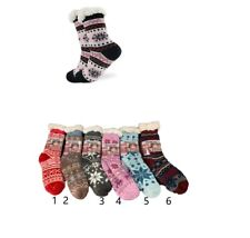 New women 2 pairs multicolor snow flakes print thick shepard fleece warm socks