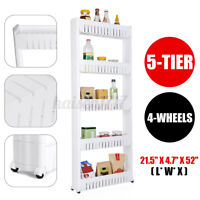 3/5-Tier Home Storage Cart Slim Slide Tower Rack Kitchen Shelf + 4 Wheels Slide