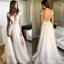 Deep V Neck Summer Boho Wedding Dresses A Line Backless Beach Bridal Gown Custom