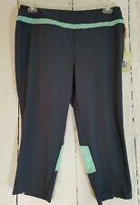 Women's Capri Leggings Tangerine XL Charcoal/Mint Color Block Workout $68 Retail