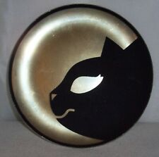 "Yankee Candle Jar Candle Plate - 6 1/2"" Round Gold w/ Black Cat Head - BRAND NEW"