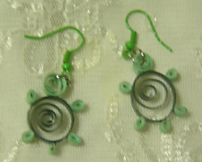 Handcrafted Green Top Turtle Paper Quill Earrings New