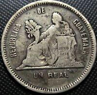 **SALE** **1890** Guatemala 1 Real KM#153a.2 - Silver Coin