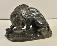 Antoine-Louis Barye (1795-1875): Lion fights with a snake, bronze