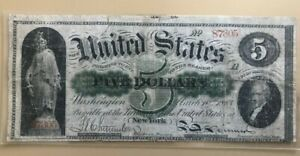 1863 $5 five dollar legal tender Union greenback Treasury note