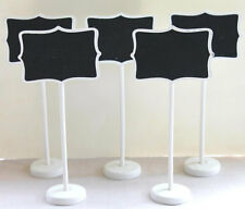 Set of 5 White Mini Chalkboard Stands,Party, Wedding,Buffet Signs