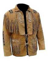 Men Tan Brown Suede Western Cowboy Leather Jacket With Fringe