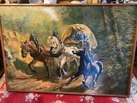 """Monumental Klaus Rodeda """"Horse Rider/Carriage Scene"""" Oil Painting -Signed/Framed"""
